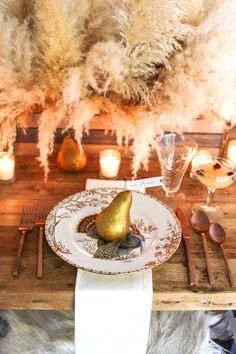 A Golden Thanksgiving Table with Foraged Centerpiece Neutral Thanksgiving Table with foraged centerpiece using pampas grass. Thanksgiving Place Cards, Hosting Thanksgiving, Thanksgiving Table Settings, Thanksgiving Decorations, Thanksgiving Ideas, Fall Mantel Decorations, Fall Decor, Table Decorations, Holiday Decor