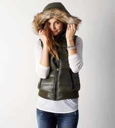 Green AEO Down Puffer Vest