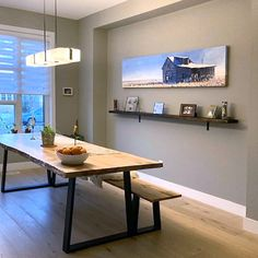 """A fine installation shot of my piece """"South of Cadillac"""" recently sold through @vandop_gallery_ to a collector in Edmonton. The piece depicts a the view across the fields from an abandoned homestead outside Cadillac, Saskatchewan Cadillac, Homesteading, Corner Desk, Fields, Abandoned, Wolf, Dining Table, Gallery, Furniture"""