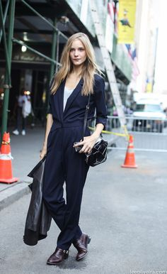 Dorothea Barth Jorgensen being stunning in an excellent navy jumpsuit #offduty on W59th St, NYC. #LeeOliveira