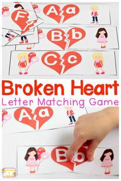 Printable Valentine Matching Game: Letter Matching Fun!