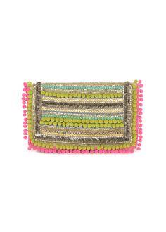 Matthew Williamson Pom Pom Embellishment Clutch Bag