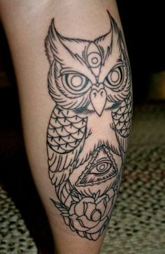 I would love to have something like this owl tattoo on my leg. Top Tattoos, Sleeve Tattoos, Third Eye Tattoos, Leg Tattoo Men, Forearm Tattoos, Tattos, Nice Tattoos, All Seeing Eye Tattoo, Free Tattoo Designs
