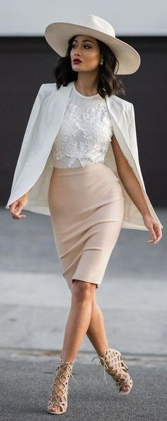 #Street #Fashion | White Hat, Blazer and Lace Top   Nude Midi Skirt And Caged Heels |Micah Gianneli