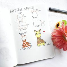 Most of you wrote me their favorite savanna animal is the… GIRAFFE! And it's also one of my favorites as … Bullet Journal Mood, Bullet Journal Ideas Pages, Bullet Journal Inspiration, Kawaii Drawings, Doodle Drawings, Easy Drawings, Savanna Animals, Doodle Art For Beginners, Animal Doodles