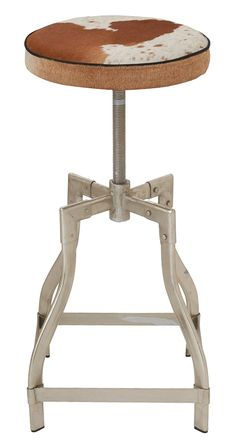 Industrial, meet rustic ranch. After a long day herding (cattle, kids, cats), pull this steel-framed stool up to your very own (margarita, breakfast, juice) bar. The adjustable seat is topped in soft, ...  Find the McMurtry Barstool, as seen in the #ModernFrontierStyle Collection at http://dotandbo.com/collections/modernfrontierstyle?utm_source=pinterest&utm_medium=organic&db_sku=117029
