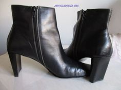 Ann Klein Womans Boots Angkle Black Leather 10M Basic Boot #AnneKlein #AnkleBoots