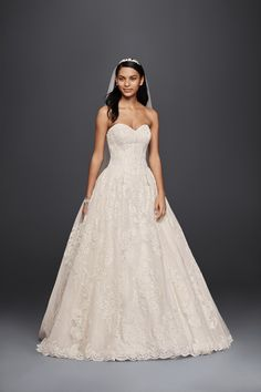 Strapless Sweetheart Beaded Lace Ball Gown Oleg Cassini Wedding Dress at David's Bridal
