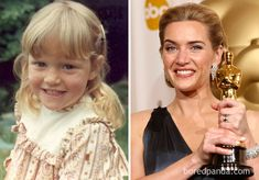 When we look at celebrities, we sometimes forget that they aren't superhumans, and that they actually stumbled through the awkwardness of childhood just like us at one point. These are your favourite famous faces - before they were famous. Kate Winslet Kids, Kate Winslet Young, Young Celebrities, Hollywood Celebrities, Celebs, Leonardo Dicaprio Kate Winslet, Leo And Kate, Childhood Photos, Mary Elizabeth Winstead