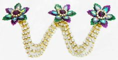 Multicolor and White Stone Studded Metal Jewelry for Hair (Stone and Metal)