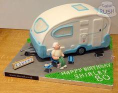 Custom cakes made in Cheshunt Camper Van Cake, Camper Cakes, Caravan Cake, Motorcycle Cake, Motorcycle Camping, Camping Gear, Wheel Cake, 50th Cake, Birthday Cakes For Women
