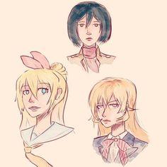 Some anime doodles!  #anime#girl#animeart#manga#mangaart#shokugekinosoma#nisekoi#attackontitan#misaka#chitoge#nakiri#erina#doodle#sketch#water#art#illustration