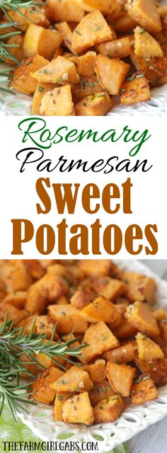 Rosemary Parmesan Sweet Potatoes are tossed in fresh rosemary and parmesan then roasted to perfection! This recipe makes the perfect side dish for any holiday or family occasion.