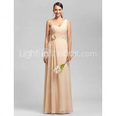 [USD $ 98.99]  Sheath/Column One Shoulder Floor-length Chiffon Bridesmaid Dress. take flower off