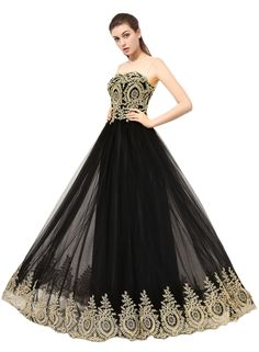 Gold Black Prom Dress | Evening Gown