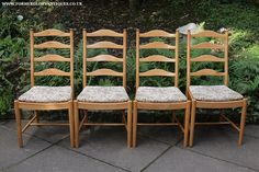 "ERCOL LIGHT ELM LADDERBACK PENN KITCHEN DINING CHAIRS  1990s HEIGHT 39 1/4"", WIDTH 20 1/4"", DEPTH 18""."