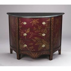 AA Importing Three Drawer Half Round Cabinet in Antique Red 45165 by AA Importing. $681.44. 45165 Features: -Three drawer cabinet.-Hand painted. Includes: -Includes three drawers. Color/Finish: -Antique red finish.-With gold flower and bird design accents.