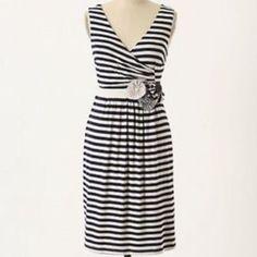 c2a1901df65f1 Anthropolgie Little Yellow Button Striped Dress Faux Wrap Dress, Striped  Dress, Navy Dress,
