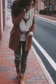 We love this brown wool #coat, grey chunky #knit #scarf and #chic #camo pants! Keep the whole outfit looking like new longer with Woolite!