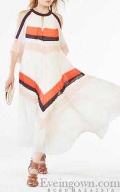 2016 Color-blocked Zuzanna Pleated Maxi Pleated BCBG Dress