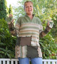 Recycled Sweater Patchwork Tunic Forest Green Earth Friendly Upcycled Clothing Large XL