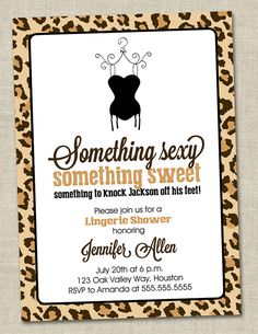 Leopard Lingerie Shower Invitation - brown and black animal pattern invite by miragreetings