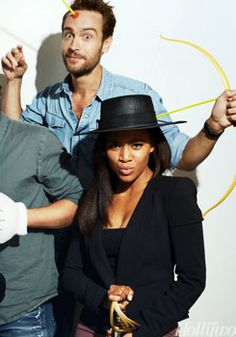 """Tom Mison and Nichole BeHarie from the TV Show """"Sleepy Hollow""""."""