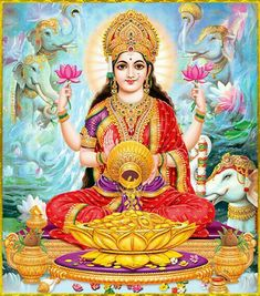 Goddess Lakshmi is called as Shri, the feminine energy of Supreme Being. She is the Goddess of Wealth and Prosperity. Worshipping her is believed to attract good fortune and abundance into one's life. Indian Goddess, Goddess Lakshmi, Divine Mother, Mother Goddess, Lakshmi Images, Lord Ganesha Paintings, Lord Vishnu Wallpapers, Image Hd, Shiva Shakti