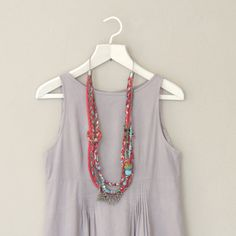 Long multi layer necklace Fabric Necklace / statement by ATLIART