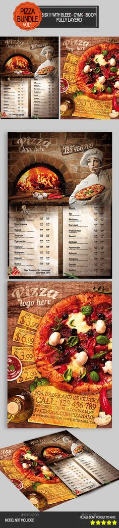Pizza Flyer Bundle Template #design Download: http://graphicriver.net/item/pizza-flyer-bundle-vol1-/9342636?ref=ksioks