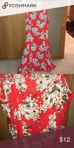 floral dress Orange forever 21 white and gray floral dress with spaghetti straps. light weight material. zipper in back. Forever 21 Dresses Mini