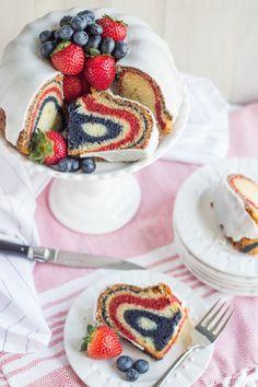 Red, White, & Blue Velvet Bundt Cake   Baking a Moment