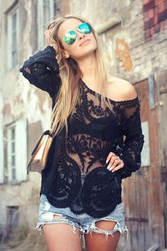 Black lacey tunic top and distressed mini short