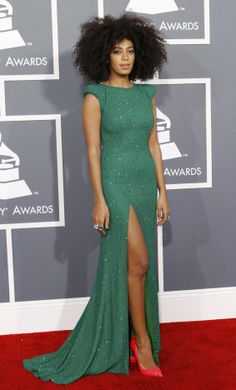 Solange Knowles 2013 Grammy's: Love the dress and her hair.