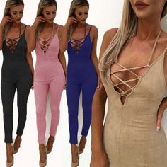 d7bcd4a02072 New Women Sexy Jumpsuit Female Clubwear Summer Bandage Playsuit Woman  Bodycon Sleeveless Jumpsuit Women Romper Outfit