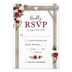 Shop Rustic Burgundy Blush Floral Wedding Arch Response created by special_stationery. Personalize it with photos & text or purchase as is! Wedding Rsvp, Floral Wedding, Fall Wedding, Wedding Invitations, Wooden Wedding Arches, Wedding Response Cards, Floral Watercolor, Invitation Cards, No Response