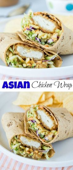 Asian Chicken Wraps – an easy chicken wrap with a Thai peanut sauce. A great lunch idea or a quick and easy dinner! Asian Chicken Wraps – an easy chicken wrap with a Thai peanut sauce. A great lunch idea or a quick and easy dinner! Asian Chicken Wraps, Healthy Chicken Wraps, Crispy Chicken Wraps, Avocado Chicken, Chicken Strips, Great Lunch Ideas, Light Lunch Ideas, Quick Easy Lunch Ideas, Lunch Ideas With Chicken