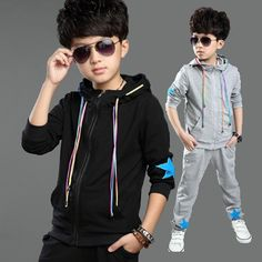 (Buy here: http://appdeal.ru/3bgb ) Boys Cotton Clothing Set New Fashion Brand Sport Suit Sweatshirts & Cotton Pants Kids Hip Hop Clothing Set for just US $35.29