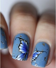 So into butterflies and that they stand for renewal. I want something like this. butterfly nail art