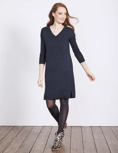 This flattering, versatile  jumper dress is our solution to everything. Running late? Throw this on with a belt and heels to look the part, fast. On the go all day? The relaxed cut and side split are just the thing.