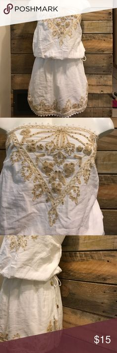 Cynthia Rowley Embellished tunic White and gold. Tie and elastic waist. Embroidered top and hems. Excellent condition. Cotton. Cynthia Rowley Tops Tunics