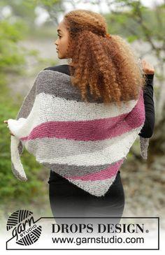 handknit shawl grey purple shwal triangle shawl by OlaKnits