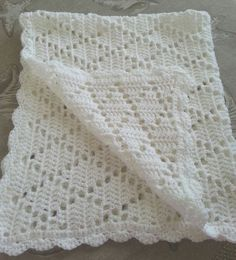 White crochet christening baptism baby blanket boy or girl