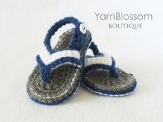 Bebé CROCHET patrón bebé Flip Flops 5 por YarnBlossomBoutique