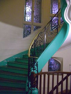 Art Nouveau stairway, Paris. Architect Jules Lavirotte,1899 | JV/// OhMy this is STUNNING - the colours <3 <3