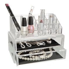 Kennedy Cosmetic Organizer With Two Drawers In Clear
