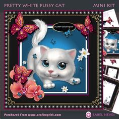 Pretty White Pussy Cat on Craftsuprint designed by Isabel Neves - Pretty White Pussy Cat 4 page 7.5 x 7.5 Mini KitIncudes:Card Front, Card Insert, Topper Decoupage, Decoupage Pieces, Several Sentiment Tag, Mini Print