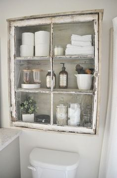 shabby chic niche glass bathroom built in cabinet #shabbychicbathroomscolors