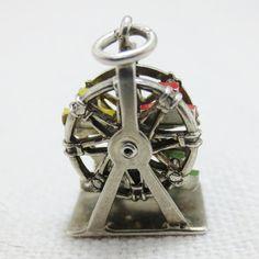 MOVABLE ENAMEL Ferris Wheel Sterling Silver Charm