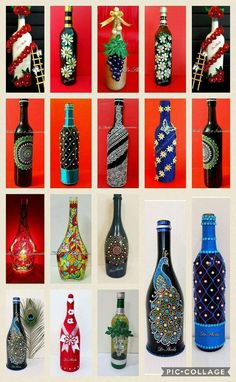 Wine Bottle Art, Diy Bottle, Wine Bottle Crafts, Wine Bottles, Waste Bottle Craft, Plastic Bottle Crafts, Pottery Painting Designs, Glass Painting Designs, Waste Art